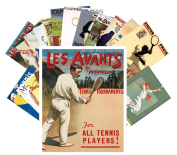 Postcard Pack 24pcs Tennis Player Vintage European Travel Posters Sport Magazines