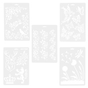 ULTNICE 5pcs Stencil Drawings Templates Hollow Paper Card Painting Masking Stencils