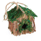 Group of 3 Handmade Delicate Moss and Twig Birdhouse Box for Displaying and Creating