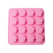 MaxLLTo 16 Paw Print Cat Dog Animal Cookie Mould, Silicone Handmade Silicone Cake Chocolate Ice Mould Candy Soap Mould - Pink