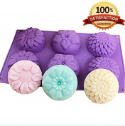 Kakasogo 6 Cavity Silicone Mix Flower shapes Soap Mould Chrysanthemum Sunflower Cupcake Backing Chocolate Muffin Pudding Pan Handmade Mild Bath Bombs Making Flexible sturdy Mould Easy to Use