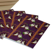 Re-wrapped - 1 eco friendly recycled greeting birthday card with coffee envelope - Purple Owls by UK designer Vicky Scott