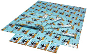 Re-wrapped - 1 sheet with 2 matching swing tags of eco friendly recycled birthday gift wrap wrapping paper - Blue London by UK designer Vicky Scott