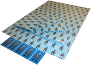 Re-wrapped - 1 sheet with 2 matching swing tags of eco friendly recycled birthday gift wrap wrapping paper - Blue Children Robots by UK designer Rebecca Warburton