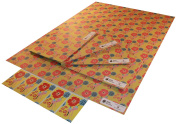 Re-wrapped - 1 sheet with 2 matching swing tags of eco friendly recycled birthday gift wrap wrapping paper - Mustard Hollyhocks by UK designer Kate Heiss