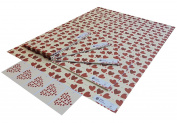 Re-wrapped - 1 sheet with 2 matching swing tags of eco friendly recycled wedding gift wrap wrapping paper - Red Wedding Love and Romance Hearts by UK designer Tracy Umney