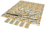 Re-wrapped - 1 sheet with 2 matching swing tags of eco friendly recycled birthday gift wrap wrapping paper - Yellow and Pink Cottage Garden Flowers by UK designer Kate Heiss