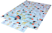 Re-wrapped - 1 sheet with 2 matching swing tags of eco friendly recycled birthday gift wrap wrapping paper - Blue Animals and Balloons by UK designer Louise Thomas