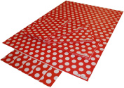 Re-wrapped - 1 sheet with 2 matching swing tags of eco friendly recycled birthday gift wrap wrapping paper - Polka Dot Red by UK designer Tracy Umney