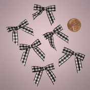 Mini Black and White Chequered Gingham Bows