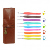 EMiEN 9 Sizes 2.0 - 6.0mm Crochet Hooks Kit, Multicolor Aluminium Smooth Needle Non-Slip Ergonomic Soft Rubber Handle Grip Crochet Needle Set with PU Leather Roll UP Organiser Case,Stitch Markers
