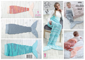 King Cole Double Knit Crochet Pattern - to make Ladies Kids & Babies Mermaid Tail Blankets