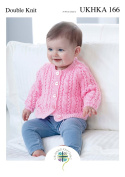 Double Knitting Pattern for Baby Lace Detail Round or V Neck Cardigan & Sweater
