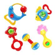 Rosiest 5pc Kids Baby Children Musical Instrument Toys Animal Hand Bell Drum Tambourine Toy