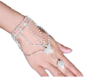 yueton 1pc Fashion Women Girl Glitter Heart Rhinestone Hand Harness Bracelet Bangle Slave Chain Link Finger Ring Bracelet