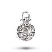 Romance Jewellery 5Pcs Rhodium Plated Diffuser Locket Aromatherapy Essential Oil Pendant Cage Locket with Lava Beads