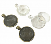 30 Pieces Silver and Bronze Pendant Trays Round Bezel Pendant Blanks Cameo Bezel Cabochon Settings with 25 mm 30 Pieces Glass Cabochon Round Dome Tiles Clear Cameo,Totally 60 Pieces