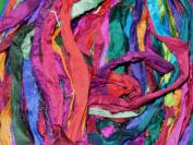 Sari Pure Silk 100g Ribbon Yarn Multi Sunset-recycled Sari Silk Yarn