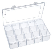 Outus Crafts Organiser Storage Box for Washi Tape, Art Supplies and Sticker, 15 Compartments, Clear