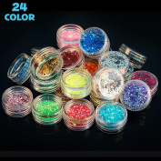 Happlee 24 Jars Manicure Glitter, Extra Fine Nail Art Decorations and Flake Glitter Assorted Colour Kit, Perfect for Children & Adult Art Projects Home or School, Premium Nail Art, Crafts