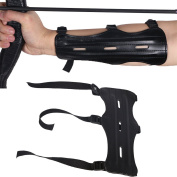 HBG Arm Guards For Archery with Contain Three Adjustable Straps,PU Black,22cm Length