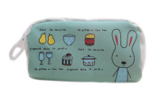Drasawee Cute Canvas Rabbit Figure Students Girls Stationery Pen Bag Pencil Case Organiser Green2#