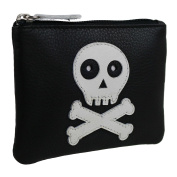 Mens BOYS Black Leather SKULL & Cross Bones Coin Purse by Mala Zipped Hand