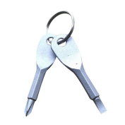 Masterein Stainless Steel Keychain Flathead Screwdriver and Cross Screwdrivers Key Ring
