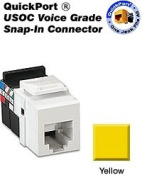 Leviton 41106-RY6 USOC Voice Grade QuickPort Snap-In Connector - Yellow