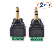 "Conwork 2-Pack 3-Pole 3.5mm 1/8"" Stereo Audio Male to AV 3-Screw Terminal Female Phoenix Adapter Connector"