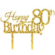 INNORU ™ Happy 80th Birthday Cake Topper - 80 Happy Birthday Gold Glitter Party Cake Decorations