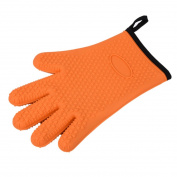 Orange Heat-Resistant Silicone Gloves with Cotton Interior Liner