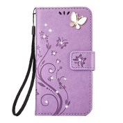 LG Aristo Case,LG K8 2017 Wallet Case,LG LV3 Case Flip Case PU Leather Flip Folio Kickstand Handmade 3D Bling Diamond Butterfly Flower Wallet Case with Card Slots for LG K8 2017