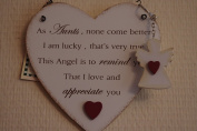 Sign Special Aunt Hanging Heart With Free Guardian Angel Key Ring