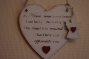 Sign Special Niece Hanging Heart With Free Guardian Angel Key Ring