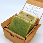 Double Mint Soap Gift Set (2 Full Size Bars) - Eucalyptus Spearmint, Peppermint - Great for ACNE & OIL SKIN - Handmade in USA with All Natural / Organics Ingredients & Essential Oils
