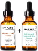 NY FACE's 50x strength Hyaluronic Acid & Vitamin C Serum with Vitamin C, Vitamin E SET