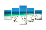 Beach White Sand & Turquoise Water - Ready to hang canvas in 5 pieces
