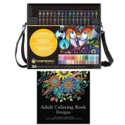 Chameleon 30 New Colour Tones Art Pen Set + Adult Colouring Book Designs