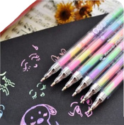 12 Assorted Glitter Pen Set Rainbow Coloured Gel ink Pen 0.8mm Rollerball Point Pen for DIY Photo Album, Black Paper,Gift Card,Writing, Drawing,Colouring,Marking, 6 in 1 Ombre Ink, Smooth and Anti Skip