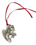 Fine Pewter Ballet Slippers with Rose Christmas Ornament on Decorative Hang Tag with Plastic Sleeve