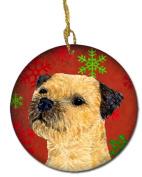 Caroline's Treasures LH9323-CO1 Border Terrier Red Snowflake Holiday Christmas Ceramic Ornament, Multicolor