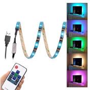 WenTop Led Strip Lights Waterproof USB Powered 5V 5050 RGB Black Strip Light 6.56ft(2M) 60leds Flexible Tape Light with RF Remote Controller for TV Back Lighting, PC Case, Desk, Trucks,Under Cabinet