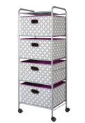 Bintopia 4 Drawer Fabric Cart, Heather Grey/White/Plum
