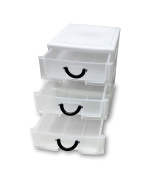 3 Drawer plastic organiser Set of 2 with easy pull out draws, little handle. great for sewing, art, beading & more