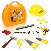 QuadPro kids toy tool set 21 pieces Durable tool box with Electric drill, Hammer, Hat and more,Toddler STEM Toys for Boys and Girls