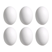 DIY Paintable Wooden Easter Eggs Model, 6Pcs White Artificial Nest Easter Eggs for Children Play Food Kitchen Game Toy