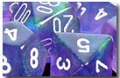 CHESSEX BOREALIS 16MM W/PIPS PURPLE/WHITE D6 - 1 DIE
