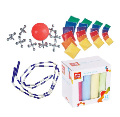 Assorted Novelty Classic Fun Party Games (Set of 4) includes Sidewalk Chalk for Hopscotch, Skip Rope, and Beanbag for Kids & Family includes FREE Jacks Set - Vintage Travel Gift!