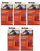 Devcon 20945 270ml 5 Minute Fast Drying Epoxy Adhesive - Quantity 5